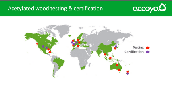 Map of wood test sites set-up around the world
